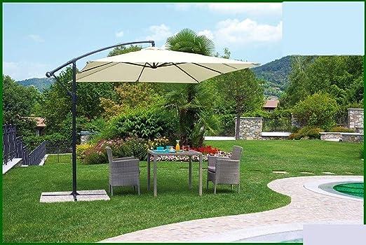 Megashopitalia sombrilla de jardín con voladizo Cuadrado 3 X 3 M. de Aluminio Beige con plátano descentralizado Restaurante Bar Local balcón terraza Exterior con Tela de poliéster Impermeable: Amazon.es: Jardín