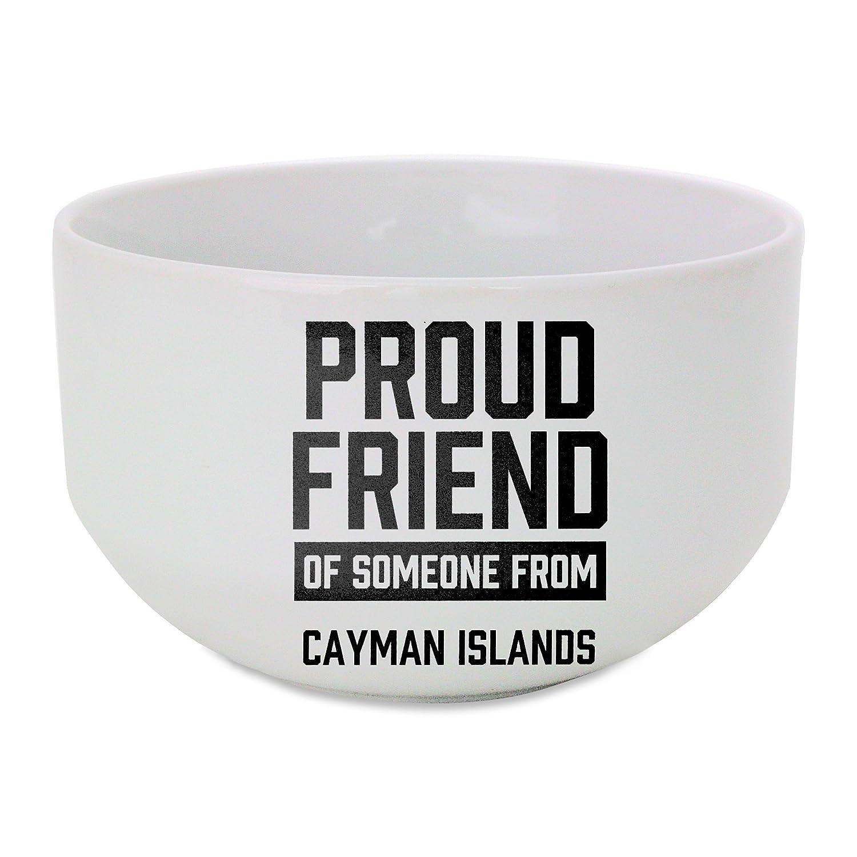 Orgullosos de amigo de persona de las Islas Caimán bol de cerámica ...