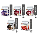 Tassimo Coffee Variety Bundle - Costa Cappuccino/Americano, Cadbury Hot Chocolate, L'Or Latte Macchiato/Caramel, Kenco Americano pods - Pack of 5 (56 Servings)