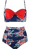 COCOSHIP Women's Vintage Stylish Front Bow High Waist Bikini Set Tiered Swimsuit(FBA)