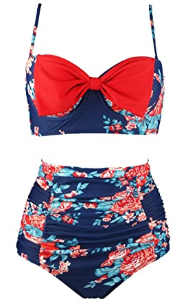0cacef053f71c Cocoship Red Pink & Navy Blue Antigua Floral Vintage Front Bow High Waist  Bikini Set Tiered