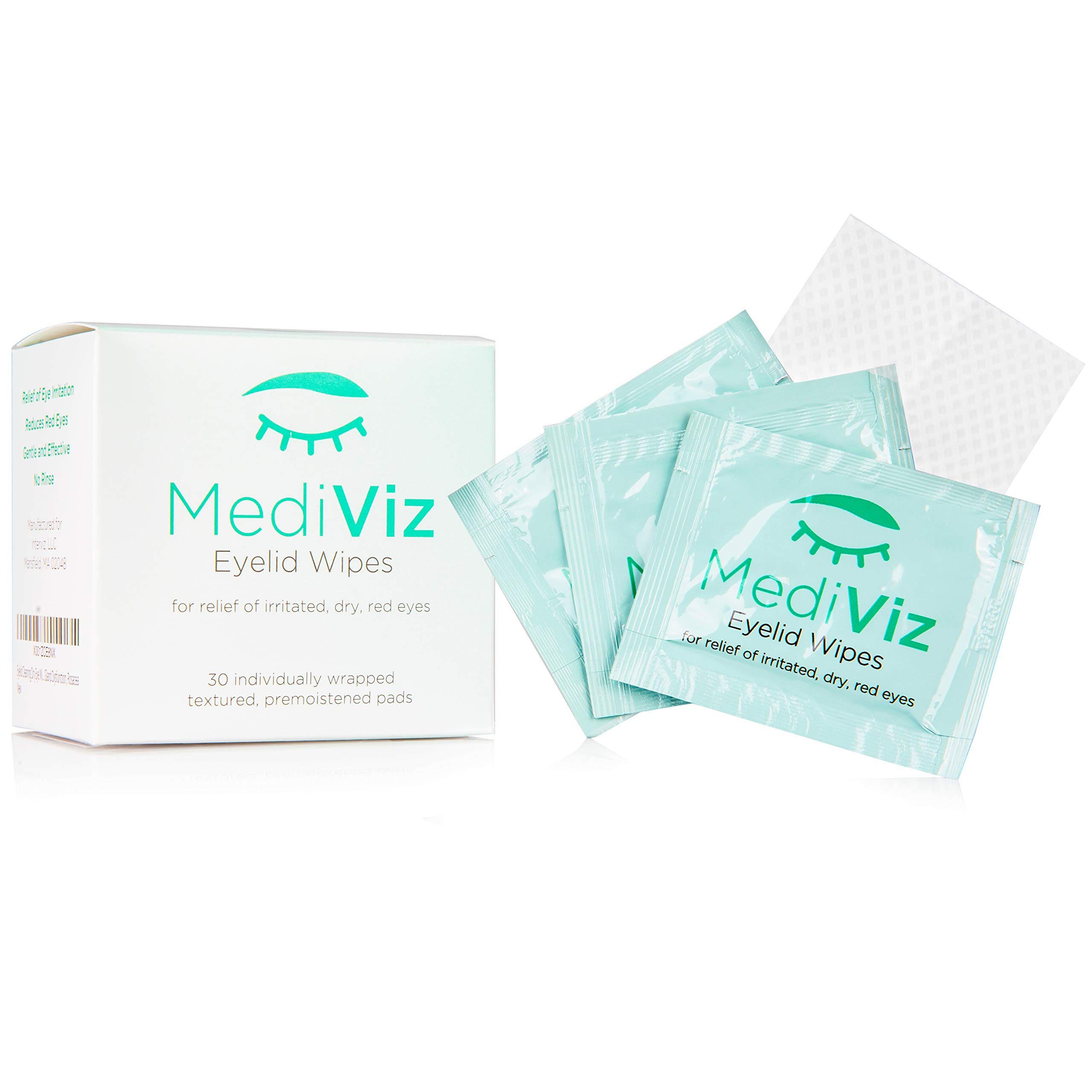 Eyelid Cleaning Wipes - Mediviz, Exfoliating, Purified, Hypoallergenic, Helps Avoid Crusty Eyelashes, Eyelid Bumps, Ocular Allergies, Demodex Mites, Clogged Meibomian Glands, Inflamed Skin Conditions