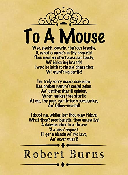 A4 Size Parchment Poster Classic Poem Robert Burns To A Mouse