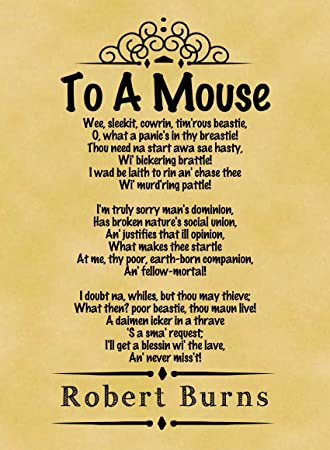 A4 Size Parchment Poster Classic Poem Robert Burns To A Mouse ...