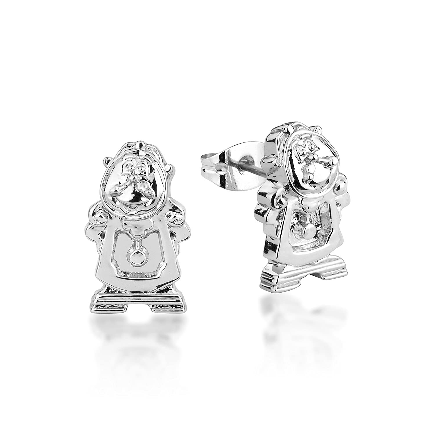 a62b4fde8 Disney Beauty & the Beast White Gold-Plated Cogsworth Clock Stud Earrings  by Couture Kingdom: Amazon.co.uk: Jewellery