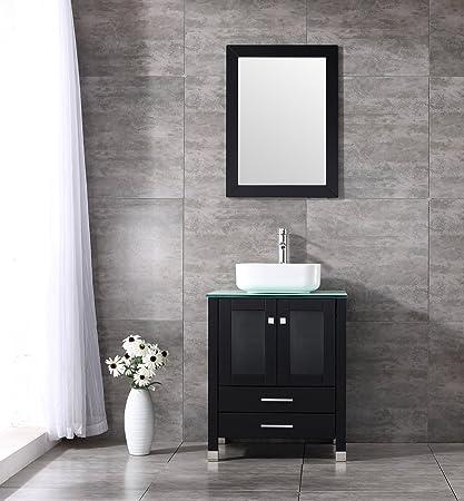 WALCUT 24u201d Wood Bathroom Pedestal Vanity Cabinet Square Vessel Sink Bowl  Modern Contemporary Design W