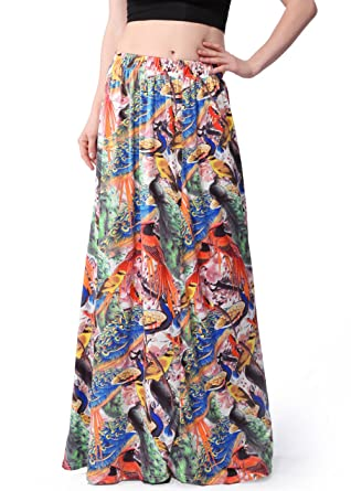 adcbbbea56 Ruiyige Women Summer Multicolored Print High Waist Beach Maxi Skirts Long  Skirt Multicoloured 2XL  Amazon.co.uk  Clothing