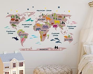 Wandtattoo weltkarte bunt  Wandtattoo Weltkarte für Kinder in Rosa mit Bunten Tieren (110 x 68 ...