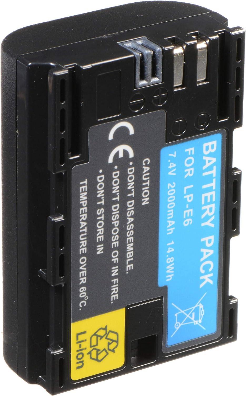 movttek Francia batería para EOS DSLR Negro LP-E6 2600 mAh para Canon EOS 80d, 6d, 7d, 70d, 60d, 5d Mark III, 5d Mark II, BG-E14, BG-E11, BG-E9, BG-E7, LC-E6, BG-E6: Amazon.es: Electrónica
