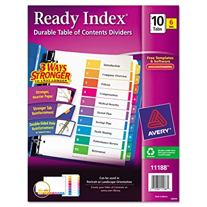 Amazon Avery Ready Index Table Of Contents Dividers 10 Tab