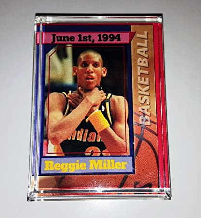 99e8df445be79 Amazon.com  Indiana Pacers Reggie Miller RARE Choke Card Acrylic Executive  Display Piece Desk Paperweight  Everything Else