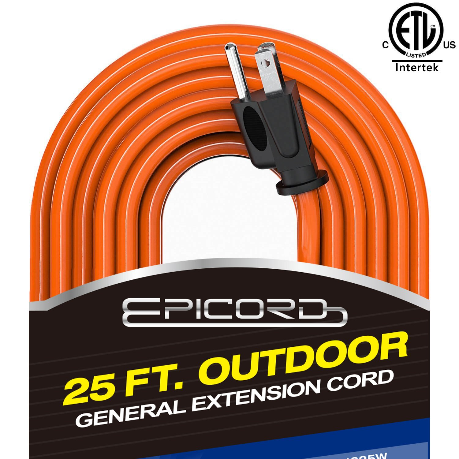 Epicord 16/3 Outdoor Extension Cord 3 Conductor Heavy Duty for Indoor and Outdoor (10 Feet) Black