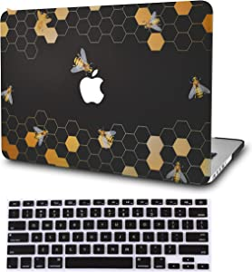 "KECC Laptop Case for MacBook Air 13"" w/Keyboard Cover Plastic Hard Shell Case A1466/A1369 2 in 1 Bundle (Black Bees)"