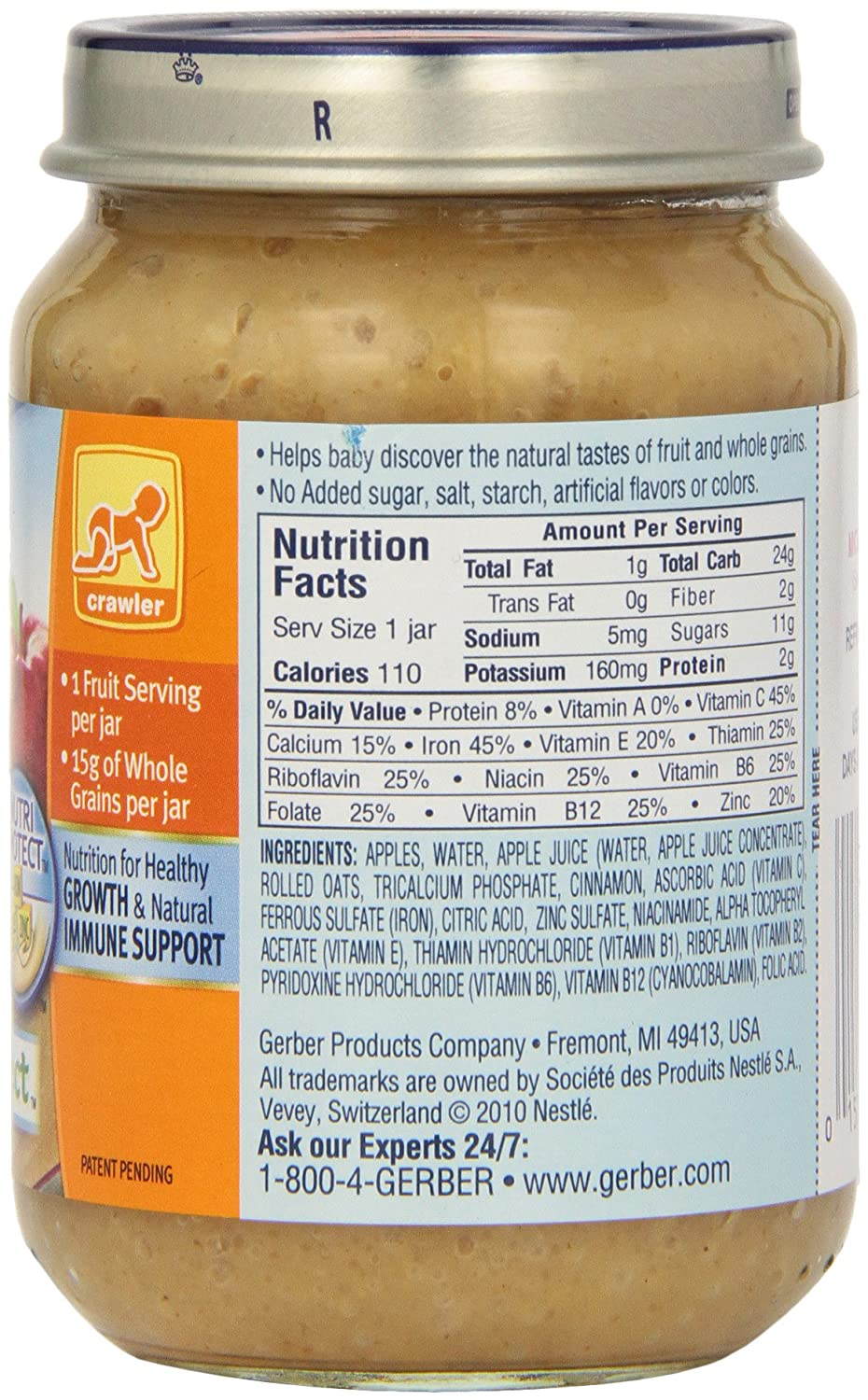 Gerber 3rd Foods Oatmeal Apple Cinnamon, 6-Ounce (Pack of 12): Amazon.com: Grocery & Gourmet Food
