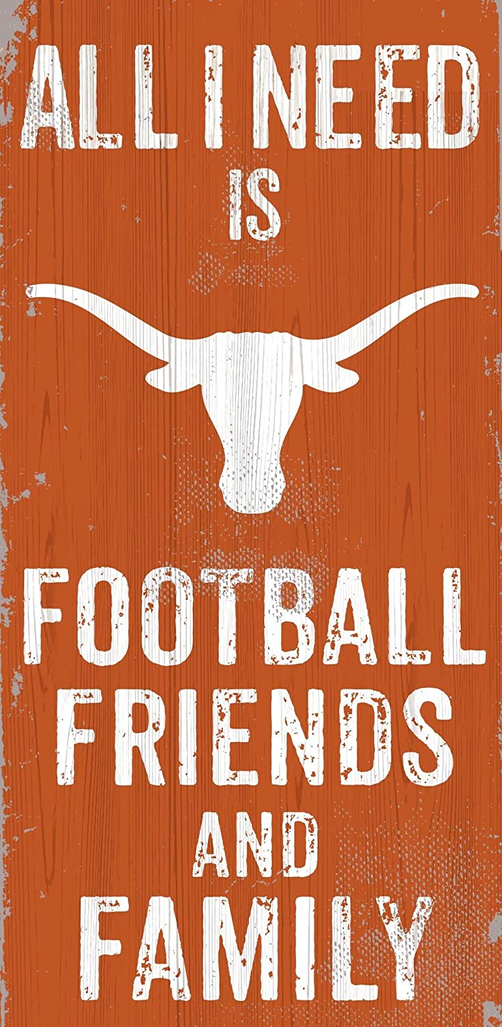 Friends and Family Wood Sign Fan Creations Texas Longhorns 12 x 6 All I Need is Football