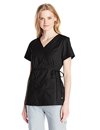 0c7d552f6a3 KOI Women's Katelyn Easy-fit Mock-wrap Scrub Top with Adjustable Side Tie,