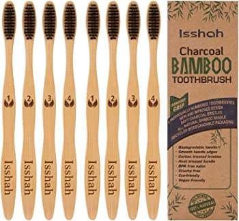8-Pack Isshah Biodegradable Natural Compostable Bamboo Toothbrush