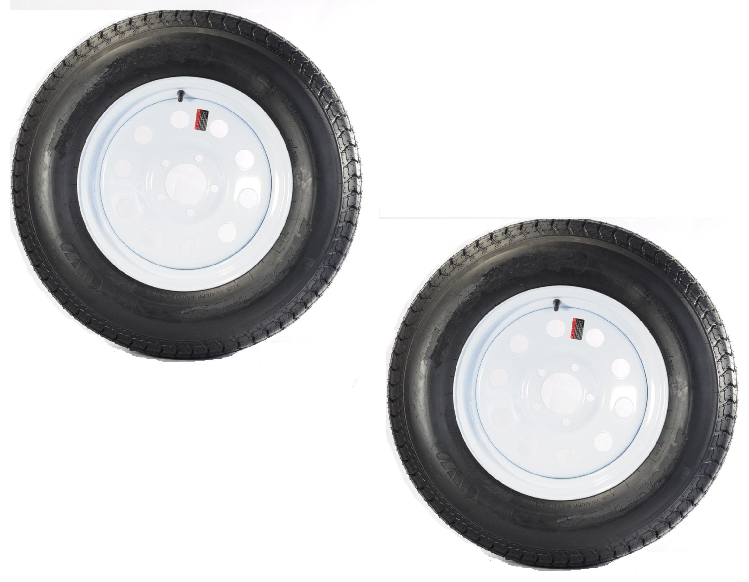 Two Trailer Tires & Rims ST205/75D14 2057514 F78-14 14'' LRC 5 Lug White Modular by eCustomRim (Image #1)