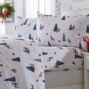 Great Bay Home 4 Piece Extra Soft Holiday Printed 100% Turkish Cotton Flannel Sheet Set. Heavyweight, Warm, Cozy, Luxury Winter Deep Pocket Bed Sheets. Whittaker Collection (Full, Winter Days)