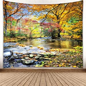 YISURE Autumn Season Nature Tree Wall Hanging Tapestry Hippie Wallpaper Green Live Scenery Forest Blanket for Bathroom Bedroom Window Living Room Dorm Art Decoration, Falling Leaves, Large Size 91x81 Inch