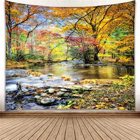 Amazon Com Yisure Autumn Season Nature Tree Wall Hanging Tapestry Hippie Wallpaper Green Live Scenery Forest Blanket For Bathroom Bedroom Window Living Room Dorm Art Decoration Falling Leaves Large Size 80x71 Everything Else