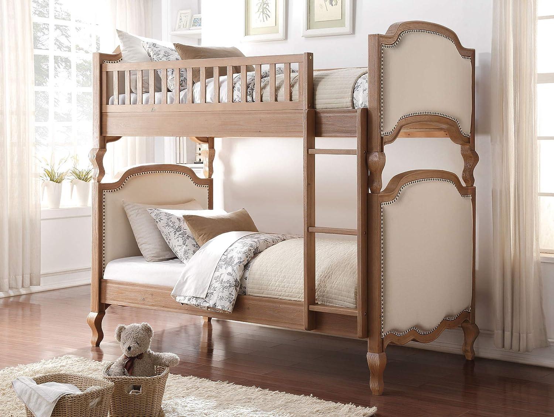 ACME Furniture Bed, Cream Linen Salvage Oak