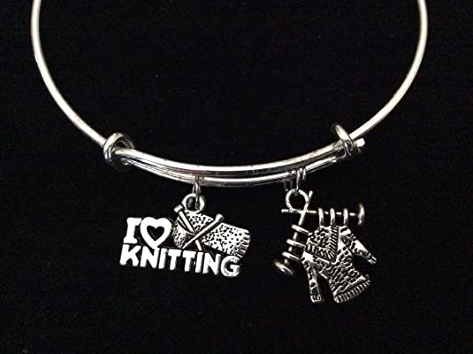 I Love Knitting with Sweater Silver Expandable Charm Bracelet