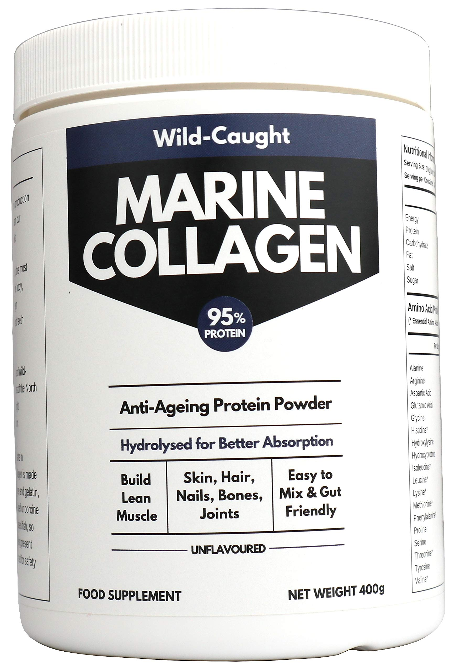 Marine Collagen Peptides (400g) | Hydrolysed from Wild Caught North SEA Cod | 1.5X Better Absorbed Protein Powder | Amino Acids for Bone, Joint, Gut, Hair and Youthful Skin | Paleo Friendly, Non-GMO