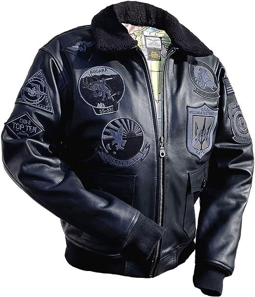 Noble House Top Gun Herren Piloten Jacke Stealth aus Leder