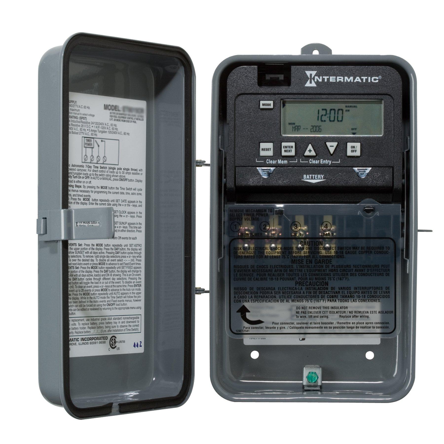 Intermatic ET1105CR 24-Hour 30-Amps SPST Electronic Time Switch, Clock Voltage 120-Volt - 277-Volt NEMA 3R