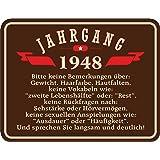 Original RAHMENLOS® Blechschild zum 70. Geburtstag: Jahrgang 1948