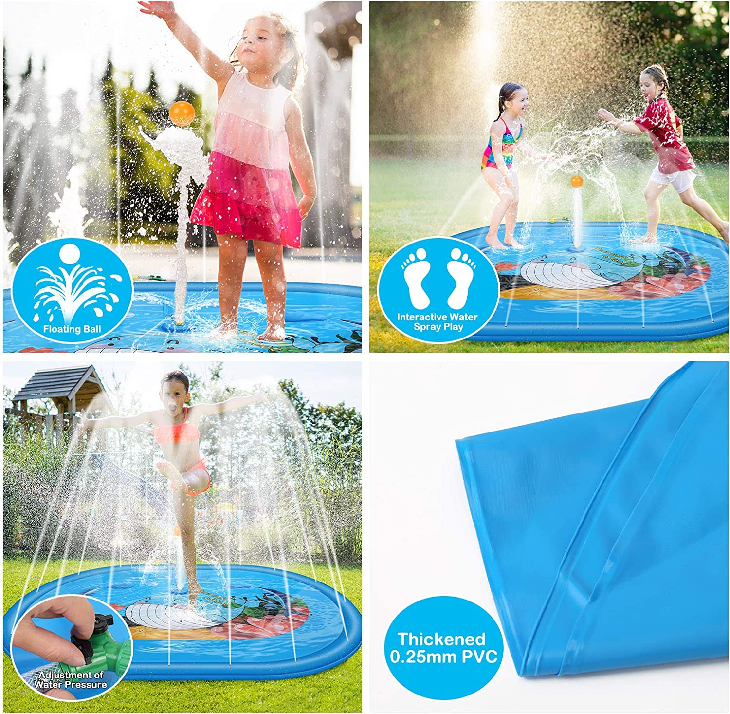 Sprinkler for Kids Adjustable Water Intake Water Play Splash Pad for Kids//Yard Explosion-Proof 74.8 Non-Inflatable Water pad 190cm with Pedal Type Water Guns for Kids and Mini Floating Ball