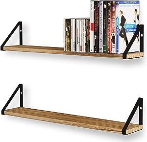 Wallniture Ponza Floating Shelves for Living Room Wall Decor, Wood Bookshelf, and CD or DVD Storage Shelf Set of 2, Natural Burned
