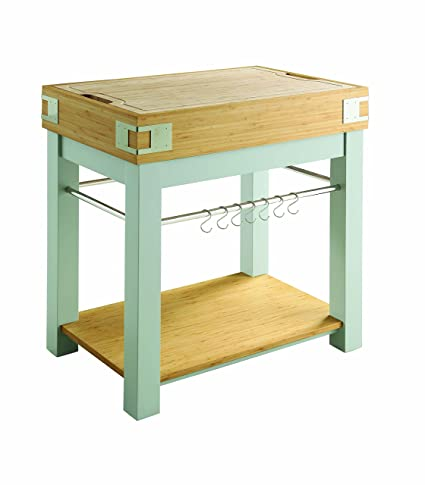 light blue kitchen island white kitchen island with removable cutting board light blue and oak amazoncom
