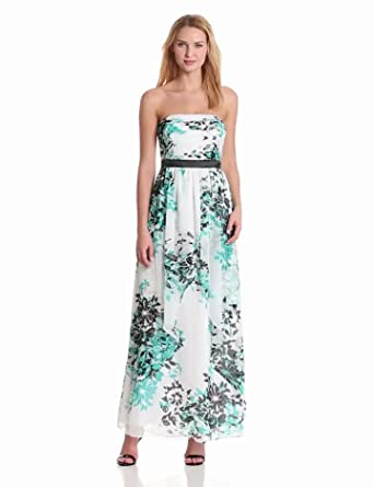 maxandcleo Women's Strapless Floral Gown, Green Topaz, 4