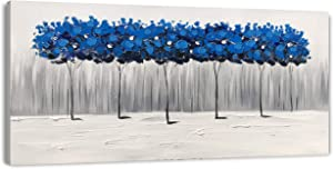 Yihui Arts Landscape Painting Abstract Tree Canvas Art Handpainted Indigo Blue Pictures Artwork for Living Room Bedroom Wall Decor (20Wx40L)
