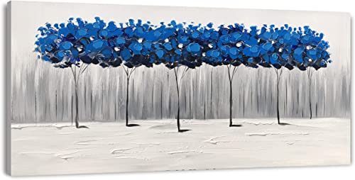 Yihui Arts Large Textured Blue Forest Abstract Oil Painting Hand Painted Modern Navy Tree Canvas Wall Art