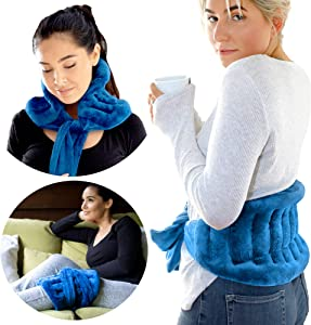 """Extra Large Microwavable Heat Wrap with Extra Long Straps for Lower Back Pain Relief, Heated Neck and Shoulder Wrap   Cold or Moist Heat Pack 10""""x20"""