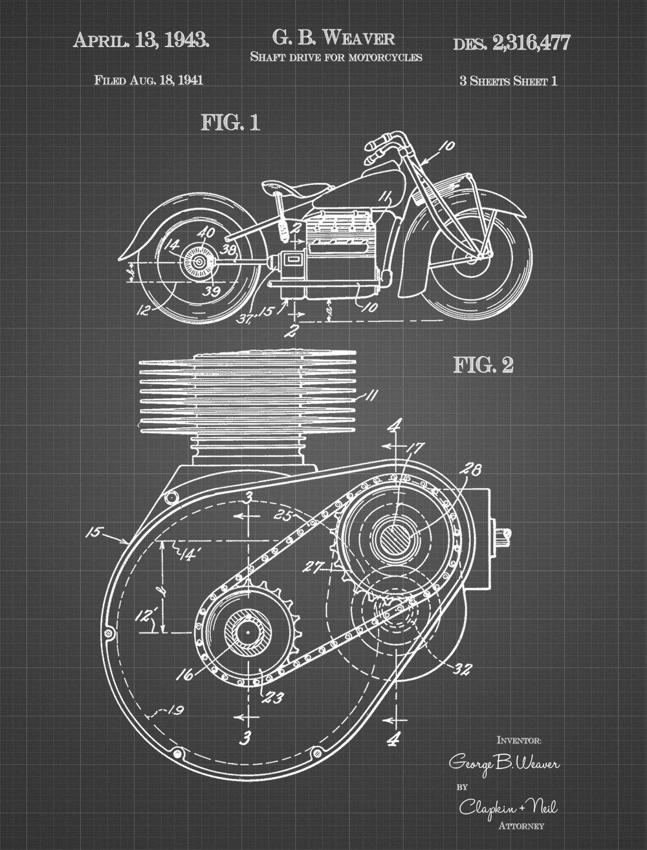 JP London PMURJSGLT37 Steampunk Cogs Shaft Drive Motorcycle Engine Art  Prepasted Removable Vintage Black Grid Poster Patent Art, 4' x 3' - -  Amazon.com