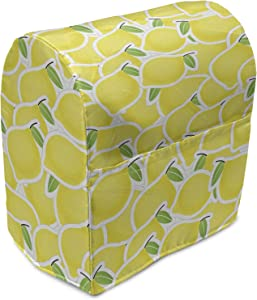 Lunarable Yellow Stand Mixer Cover, Illustration of Bunch of Lemon Citrus Images and Forms Nature Artprint for Living, Kitchen Appliance Organizer Bag Cover with Pockets, 6-8 Quarts, Yellow Green