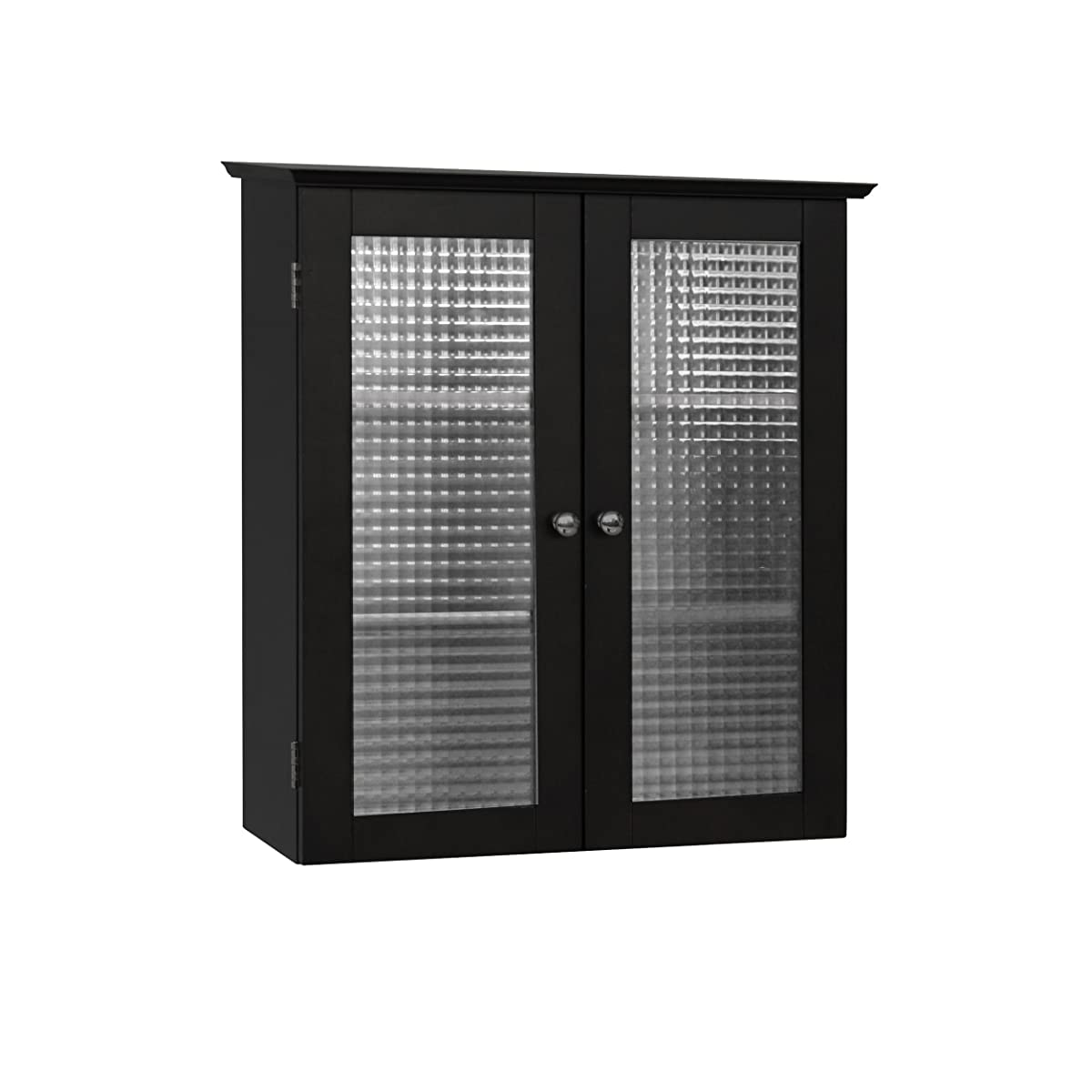Elegant Home Fashions Chesterfield Collection Wall-Mount Medicine Cabinet with Tempered-Glass Doors, Espresso