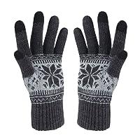 VENI MASEE Weihnachten Damen Hereen Snowprint Keep Warm Smartphone Touch Screen Handschuhe