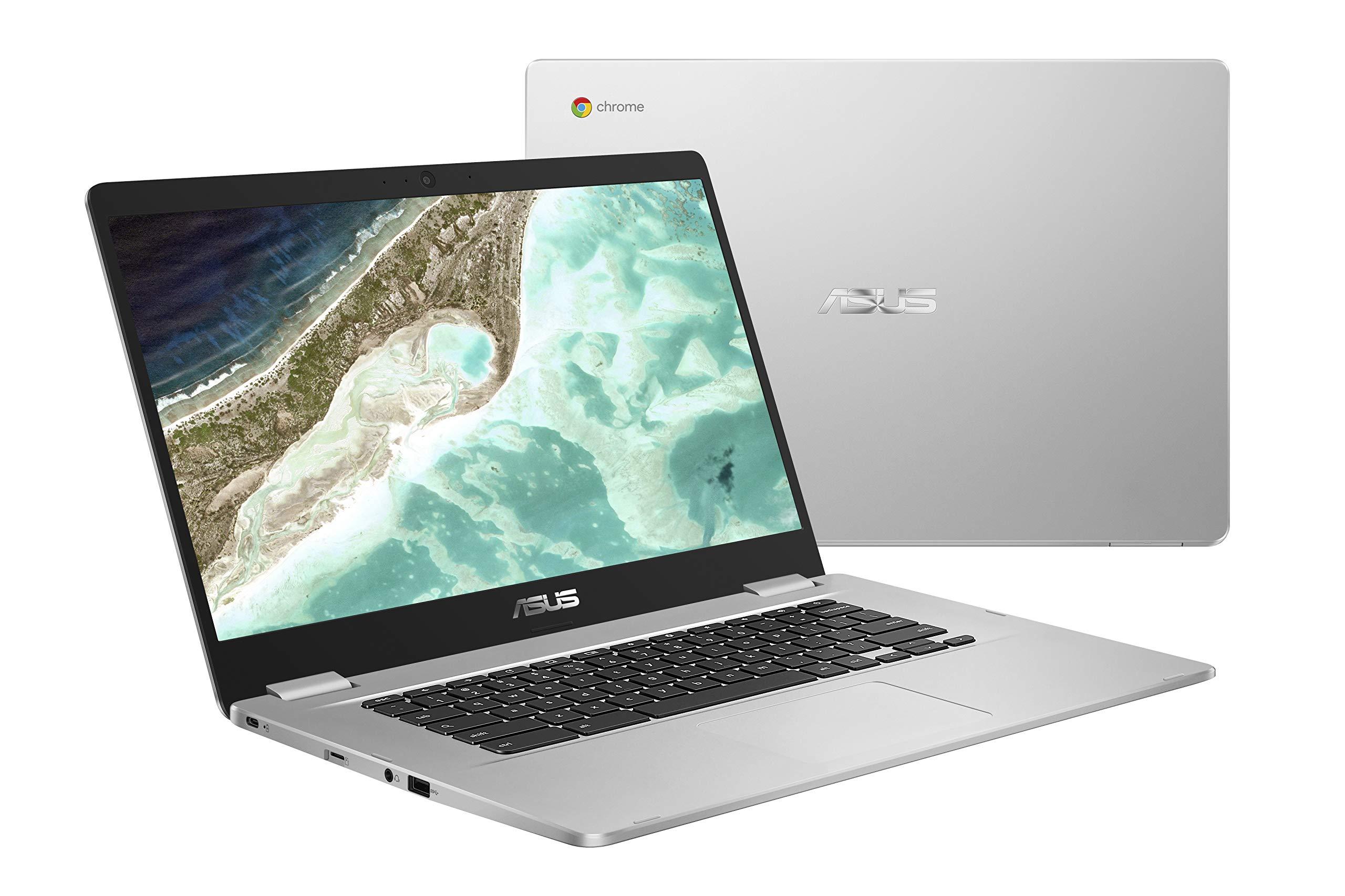 ASUS Chromebook C523NA-DH02 15.6'' HD NanoEdge Display, 180 Degree, Intel Dual Core Celeron Processor, 4GB RAM, 32GB eMMC Storage, Silver Color