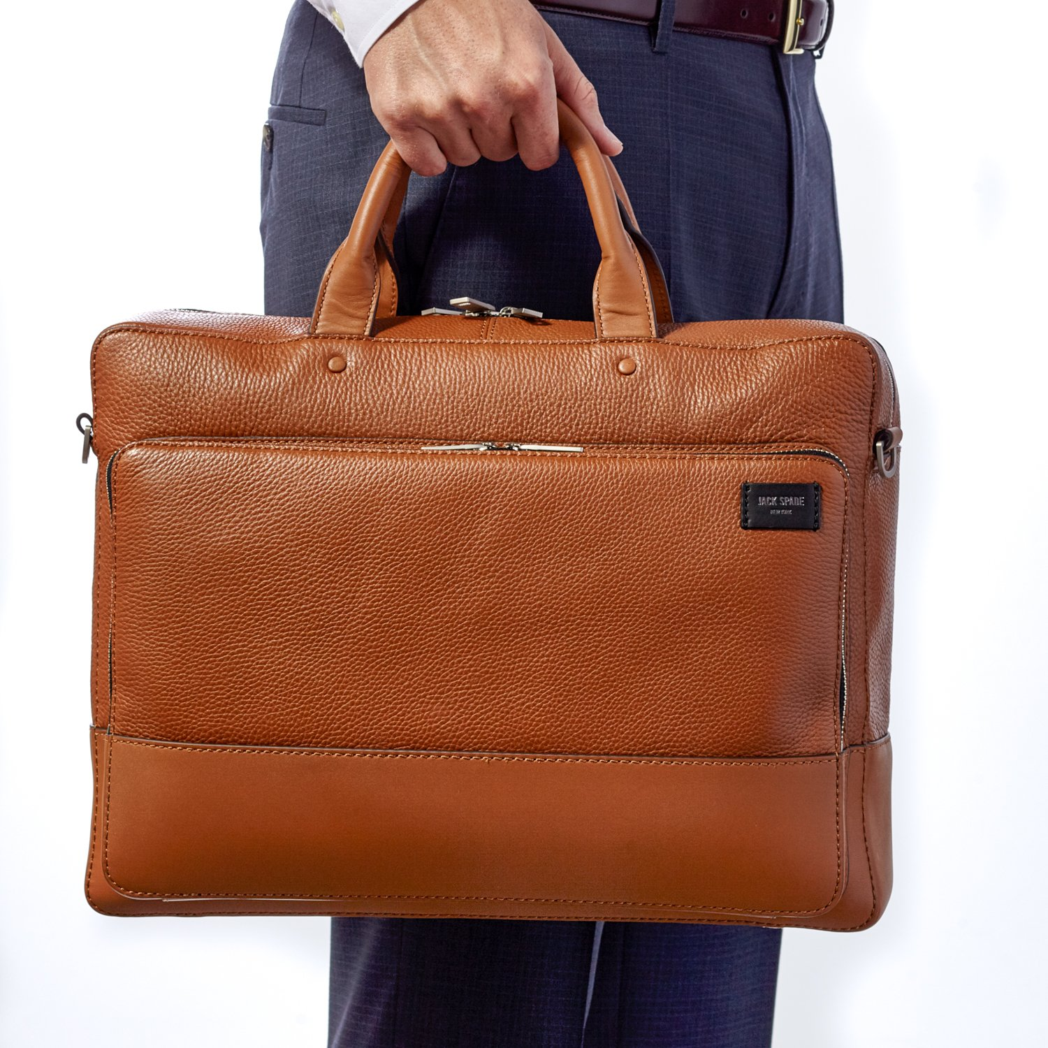 Jack Spade, Mason Pebble Leather Commuter Briefcase Bag, Fits 15'' Laptop - Tan
