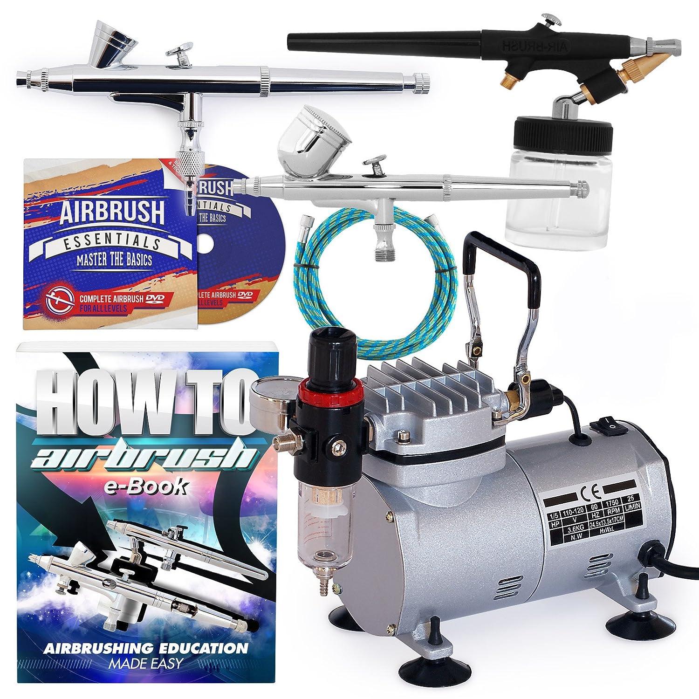 PointZero Airbrush Dual Action Airbrush Kit with 3 Guns 4336951400