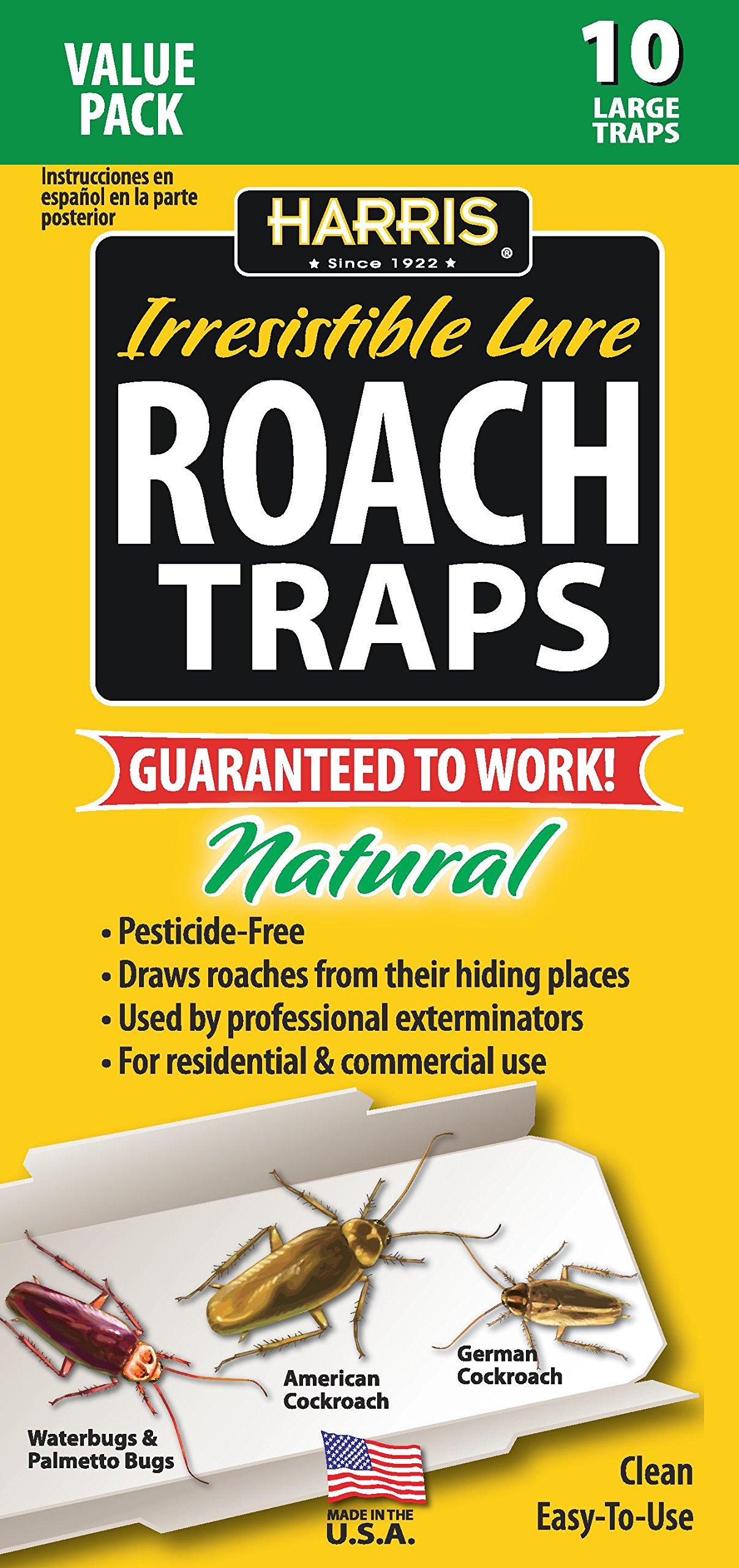 Harris Roach Glue Traps w/Lure, Non Toxic & Pesticide Free (10-Pack)
