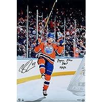 "$699 » Connor McDavid Edmonton Oilers Autographed 24"" x 16"" Celebration Photograph with""Rogers Place Debut 10/12/16"" Inscription - Upper Deck…"