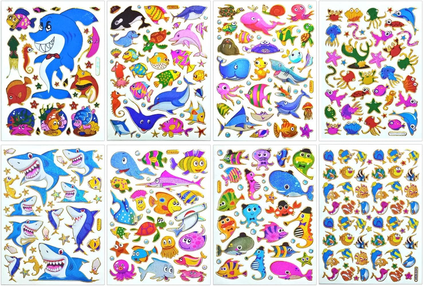 Seaworld Sticker Self-Adhesive Glitter Metallic Reflective Foil with Shark Whale Stingray Goldfish Clownfish Angelfish Puffers Fish Octopus Squid Jellyfish Crab Turtle Seahorse Snail (ST08-SEAWORLD)