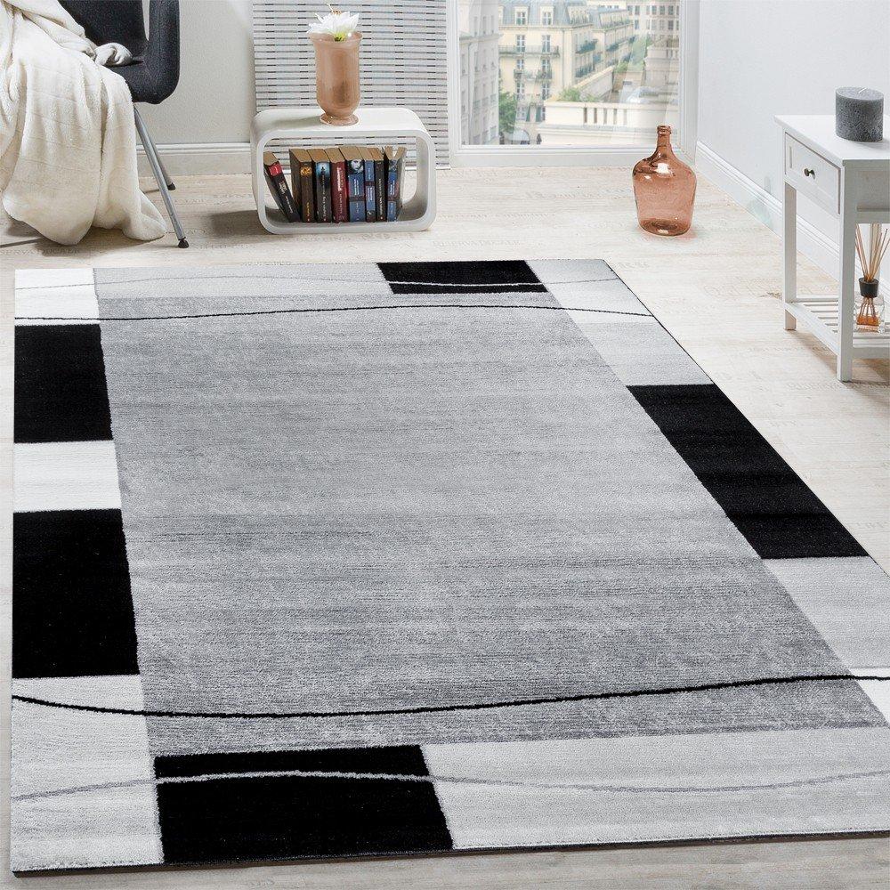 Paco Home Designer Teppich Wohnzimmer Teppich Bordure In Grau Grosse