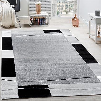 Paco Home Designer Teppich Wohnzimmer Teppich Bordüre in Grau Schwarz Creme  Preishammer, Grösse:120x170 cm